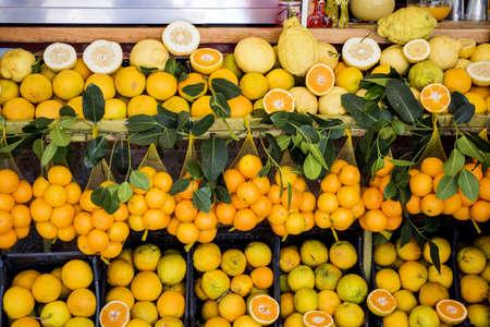 Fresh Sicilian oranges and lemon. Italian fruit market
