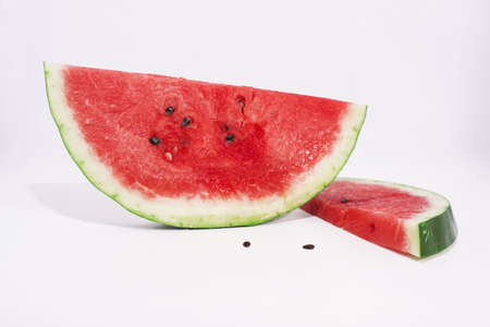 Sliced of watermelon isolated on white