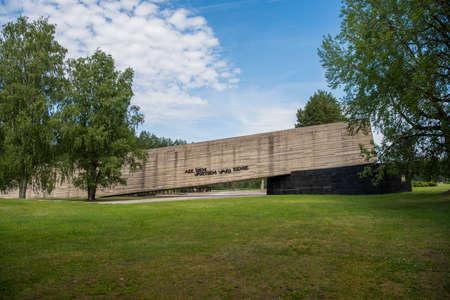 Salaspils, Latvia - June 19, 2019: Monuments at Salaspils Memorial Ensemble.