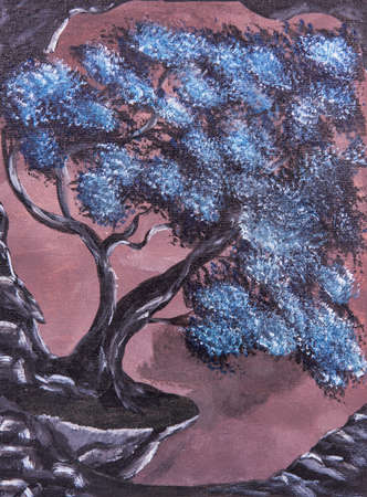 A big tree on a rock cliff. Abstract fantasy drawing