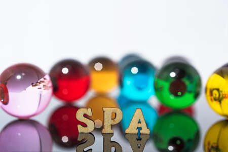 SPA background photo with glass crystals and wooden letters