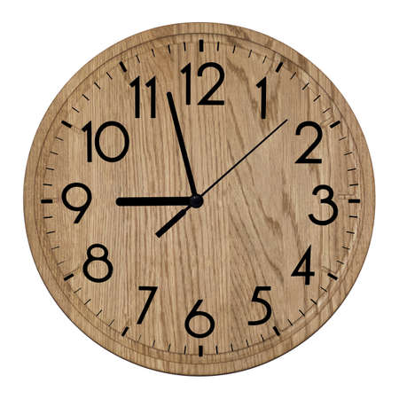 Wooden wall clock. Isolated on white background. Stock fotó
