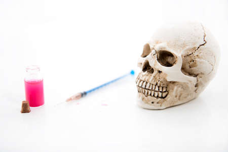 Medicine concept with human skull. Abstract photo of illness time. Stock fotó