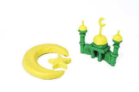 Symbols of Islam. Objects made from Play Clay. Abstract isolated photo.