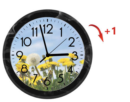 Daylight Saving Time (DST). Wall Clock going to summer time (+1). Turn time forward. Stock Photo