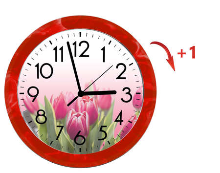 Daylight Saving Time (DST). Wall Clock going to summer time (+1). Turn time forward. 写真素材 - 140177717