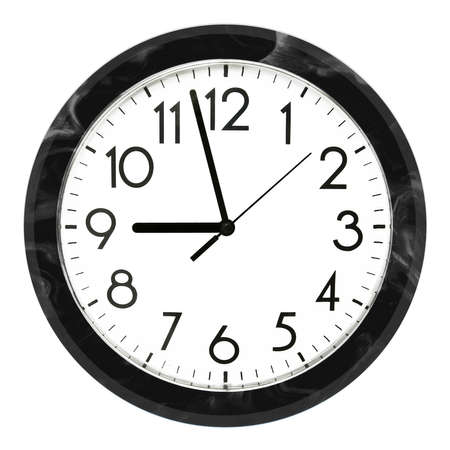 Black wall clock. Isolated on white background. High quality photo. Imagens