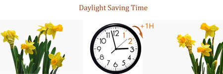 Daylight Saving Time (DST). Blue sky with white clouds and clock. Turn time forward (+1h).