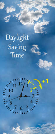 Daylight Saving Time (DST). Blue sky with white clouds and clock. Turn time forward (+1h). Stockfoto