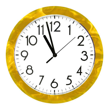 Yellow wall clock. Isolated on white background. High quality photo.