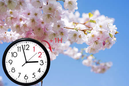 Daylight Saving Time (DST). Blue sky with white clouds and clock. Turn time forward (+1h). 写真素材 - 141681987