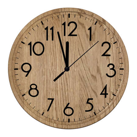 Wooden wall clock. Isolated on white background. 免版税图像