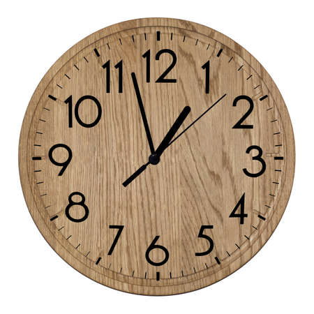 Wooden wall clock Isolated on white