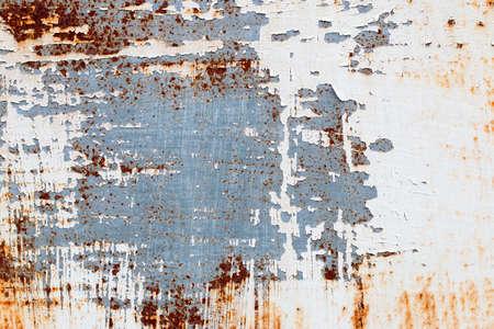 필 링 페인트와 녹슨 오래 된 금속의 배경