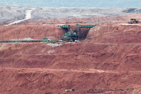 camion minero: Part of a pit with big mining truck working