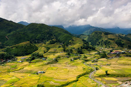 yuan yang: Terraced ricefield in water season in laocai, Vietnam Stock Photo