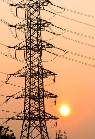 metal grid: high voltage post High-voltage tower sky background Stock Photo