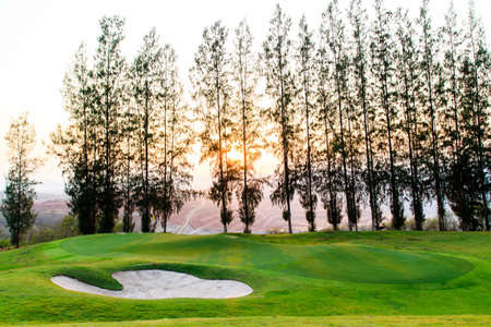 golf place with nice green Stock Photo