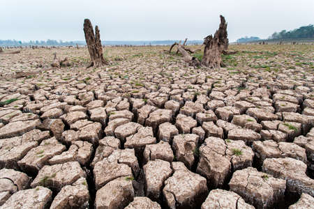 soil erosion: Cracked dry land without water.Abstract background. Stock Photo