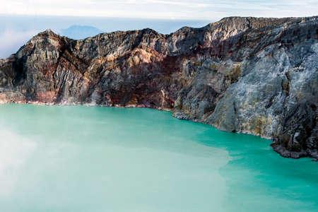 crater lake: Kawa Ijen Volcano and lake in sunrise View at Indonesia.