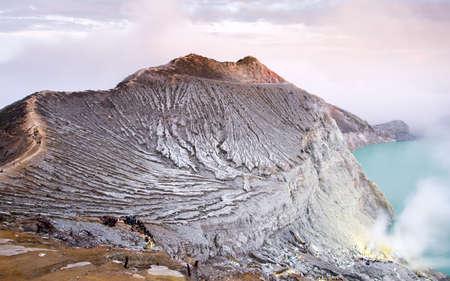 crater lake: Kawa Ijen Volcano crater and lake Stock Photo