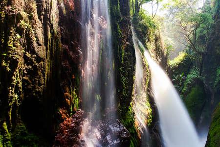 Blawan Waterfall Around Kawa Ijen Crater, Beautiful Waterfall hidden in the tropical jungle,East Java, Indonesia