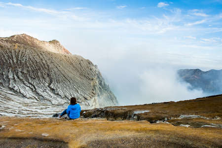 crater lake: View from Ijen Crater, Sulfur fume at Kawah Ijen, Vocalno in Indenesia