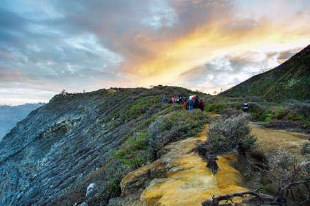 Lake and Sulfur Mine at Khawa Ijen Volcano Crater, Java Island, Indonesia Stock Photo