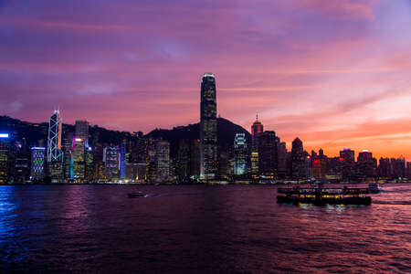 Hong Kong Skyline Kowloon from Fei Ngo Shan hill sunset Stock Photo