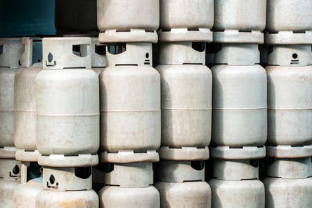 LPG gas bottle stack ready for sell