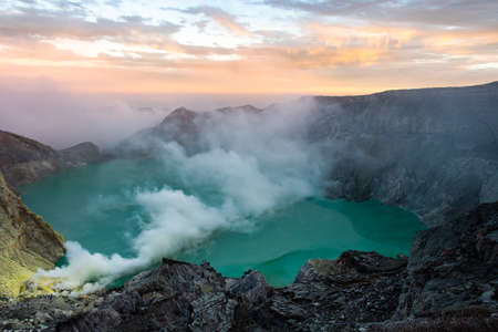 View from Ijen Crater, Sulfur fume at Kawah Ijen, Vocalno in Indenesia