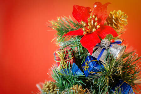 Christmas holidays composition on red background with copy space Stock Photo