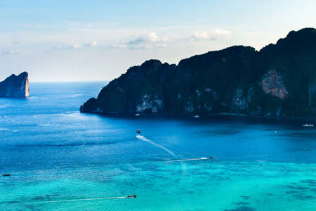 Travel vacation background Tropical island with resorts Phi-Phi island Krabi Province Thailand 写真素材