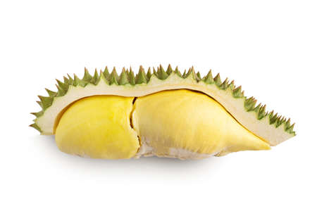 Durian and durian peels  on white background