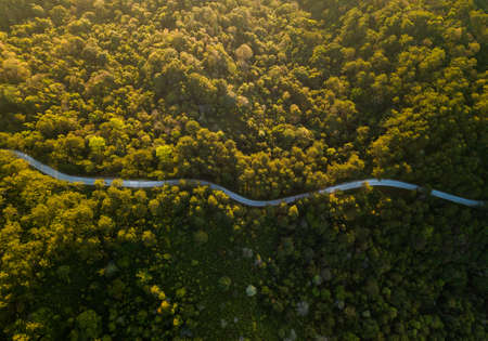 Top view ofcountryside road passing through the green forrest and mountain
