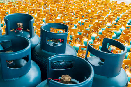 View of rows of LPG gas bottles stack ready