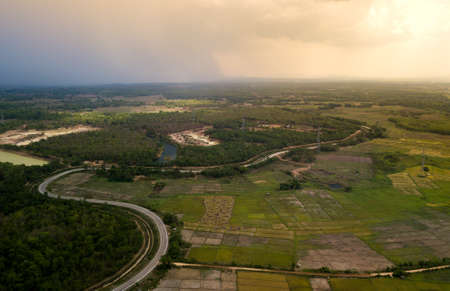 Rice Terrace Aerial Shot. Image of beautiful terrace rice field