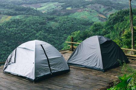 tourist tent camping in mountains Foto de archivo