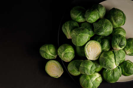 Brussels sprouts on Black background