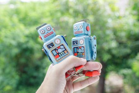 antique Vintage retro robot tin toy Foto de archivo