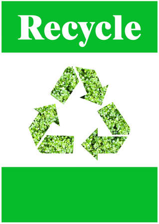 international recycle symbol: The international Recycle symbol with green leaf texture Stock Photo
