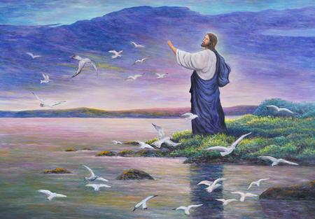 image of Jesus feeding the birds at the seaside, original oil painting on canvas Foto de archivo