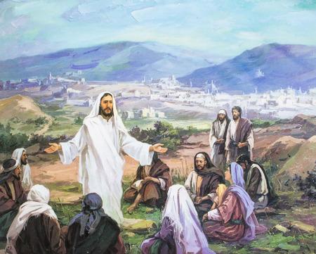 Chiang Mai, Tailandia - 31 de octubre de 2016. imagen de Jesús fue peaching a la multitud, en la iglesia Grace Chiang Mai, Tailandia. Impreso desde el final de 20 céntimos. Iniciado por artista coreano
