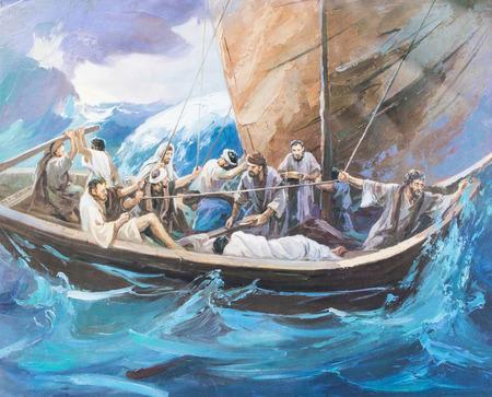 CHIANGMAI, Thajsko - říjen 31,2016. obraz Ježíše a jeho žáka na lodi v Grace Church Chiangmai v Thajsku. Vytištěno od konce 20. stol. Původně korejským umělcem