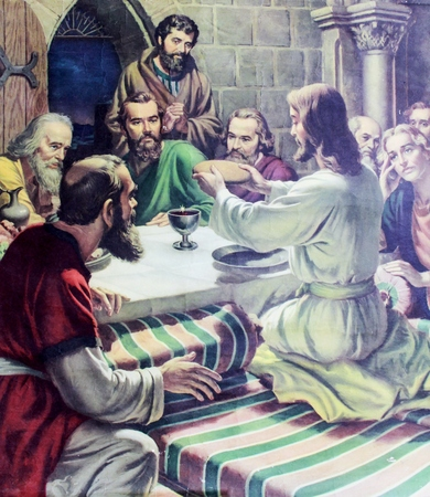 the gospels: CHIANGMAI, THAILAND - October 31, 2016.  image of the Last Supper in Grace Church Chiangmai, Thailand . printed image from the end of 19. cent. Originally by unknown artist.