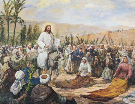 followers: CHIANGMAI, THAILAND - November 11, 2016. old Printed image of Jesus going up to Jerusalem among a large crowd in Grace Church Chiangmai, Thailand . Printed from end of 20 cent. Originally by Korean artist Editorial