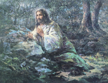 CHIANGMAI, THAILAND - November 11, 2016. old Printed image of Jesus prays in the garden Gethsemane in Grace Church Chiangmai, Thailand . Printed from the end of 20 cent. Originally by Korean artist Stock Photo - 66045917