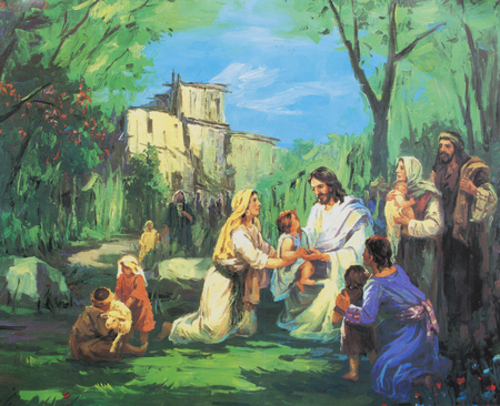 parable: CHIANGMAI, THAILAND - November 11, 2016. old Printed image of Jesus teach people to have faith like the children in Grace Church Chiangmai, Thailand . Printed from end of 20 cent. Originally by Korean artist Editorial
