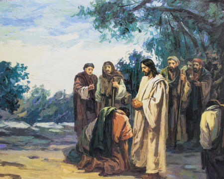 commandment: CHIANGMAI, THAILAND - November 11, 2016. old Printed image of Jesus commanded disciple to go to make disciple, in Grace Church Chiangmai, Thailand . Printed from end of 20 cent. Originally by Korean artist