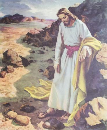 CHIANGMAI, THAILAND - 11 november 2016. Gedrukt beeld van Jezus tijdens de 40 dagen vasten in de woestijn in Grace Church Chiangmai, Thailand. Gedrukt vanaf midden van 19 cent. Oorspronkelijk door kunstenaar Zingaro. Redactioneel